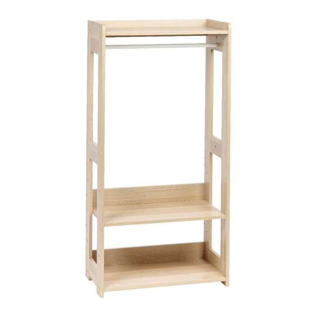 596285 IRIS 2 Shelf Compact Wood Garment Hanging Closet Clothing Clothes Rack, Brown