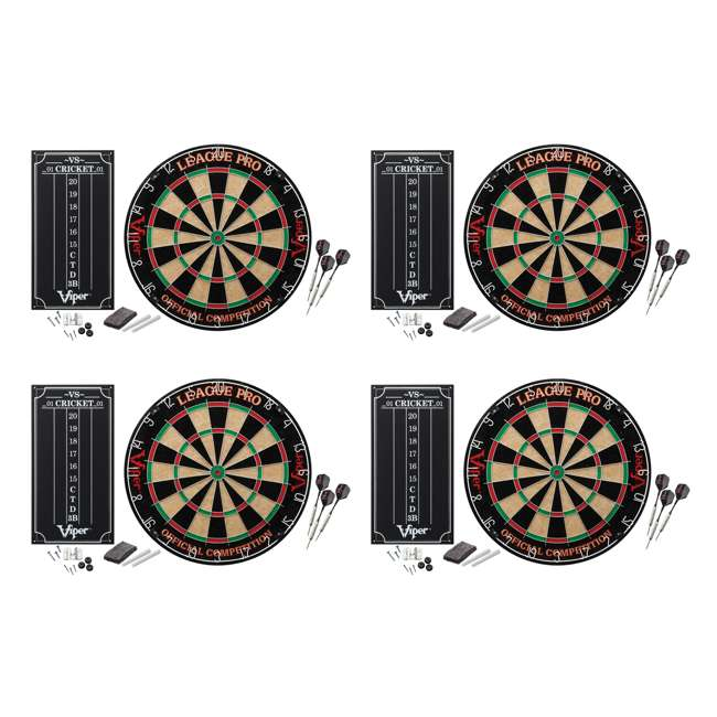 4 x VIP42-6011 Viper League Pro Sisal Dartboard Starter Kit with Steel Tip Darts (4 Pack)