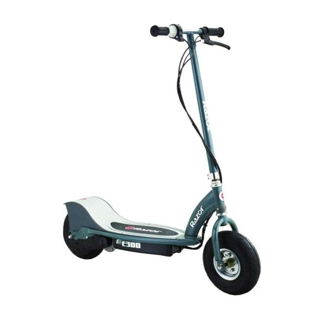 13113614 + 2 x 96785 + 2 x 97778 Razor E300 Electric Motorized Scooters, Gray (2 Pack) + Safety Pads + Helmets 1