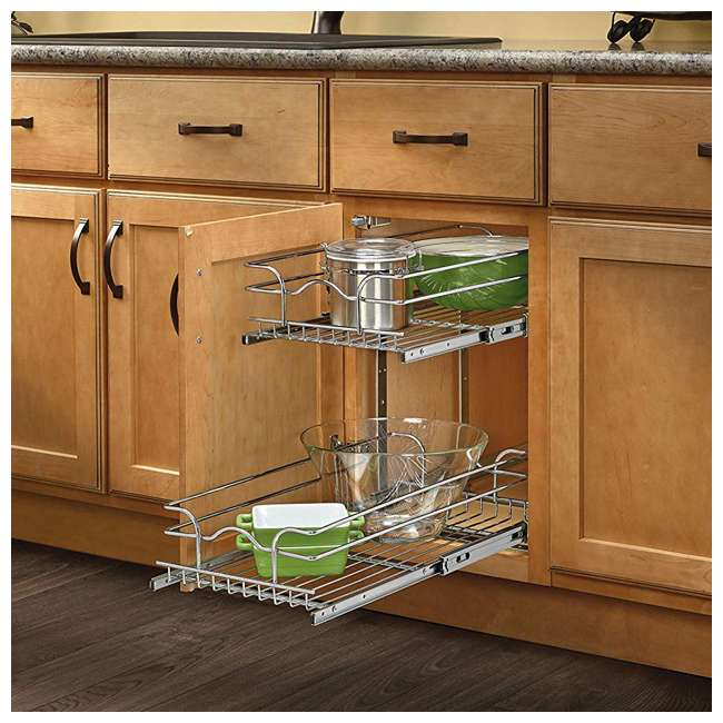 "5WB2-1522-CR Rev-A-Shelf 15"" Wide 22"" Deep Base Kitchen Cabinet 2 Tier Pull Out Wire Basket 3"