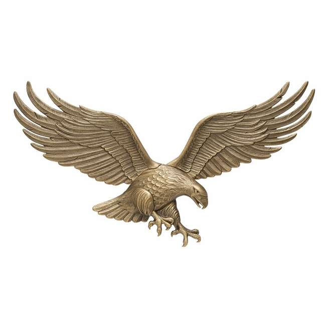00755 Whitehall 00755 36 Inch Antique Indoor Outdoor Eagle Wall Hanging Plaque, Brass