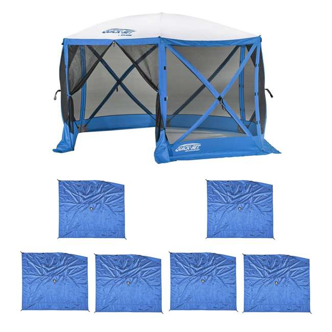 CLAM-ESS-14201 + 2 x CLAM-WP-ESS-14205 Clam Quick Set Escape Tailgating Shelter + Wind & Sun Panels (6 pack)