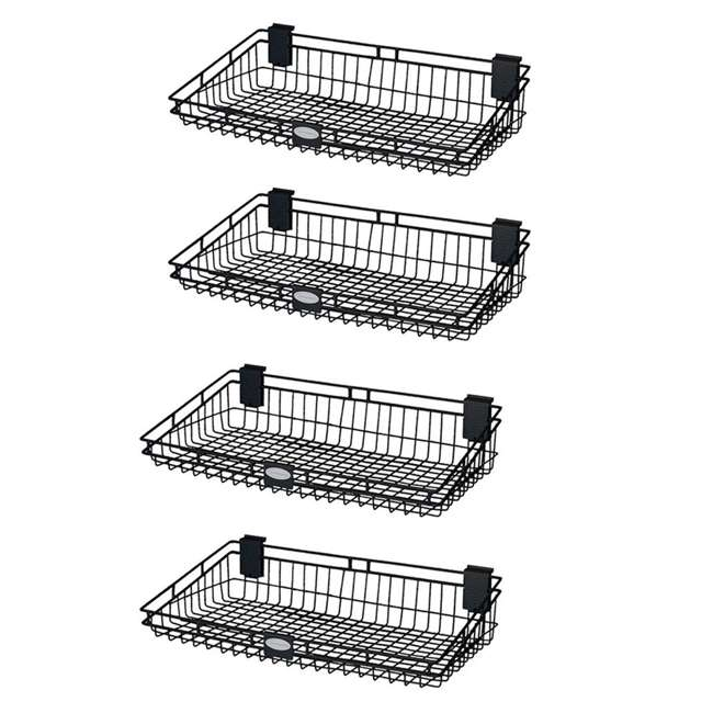 MB1224B Suncast 12 Inch x 24 Inch Mounted Wire Basket, Black (4 Per Pack)