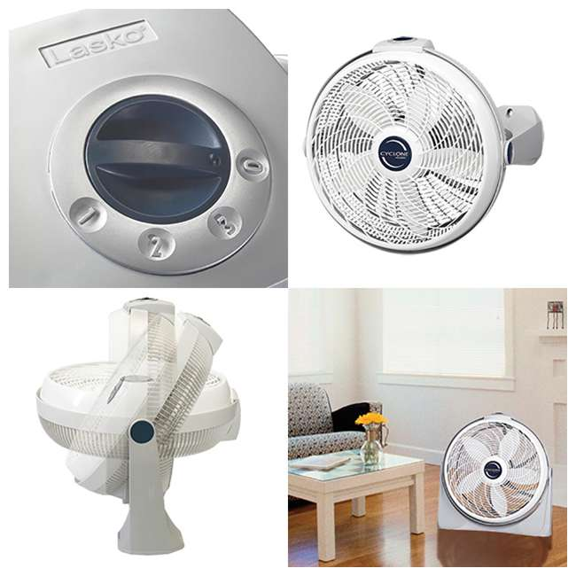 LKO-3520-TX-U-B Lasko 20 Inch Cyclone Portable Floor or Wall Mount Pivoting Fan, White (Used) 1