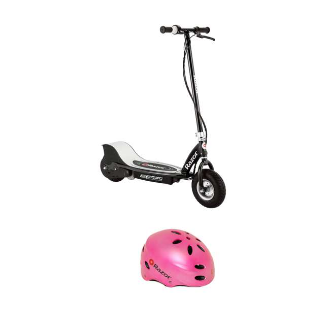 13116397 Razor E325 Electric Motorized Rechargeable Scooter and V17 Youth Sport Helmet