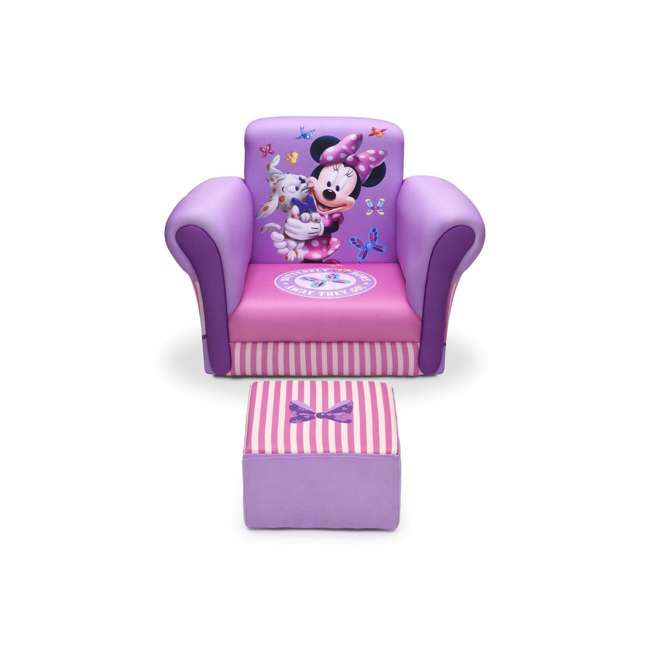 UP85811MN-1058 Delta Children Kids Minnie Mouse Upholstered Lounge Chair Armchair with Footrest
