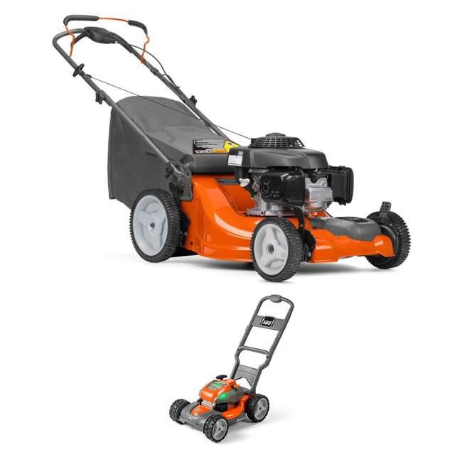 HV-WB-961450036 + HV-TOY-589289601 Husqvarna Walk Behind 21 Inch Self Propelled Gas Mower + Kids Toy Lawn Mower