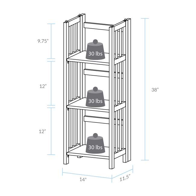 331-35 Casual Home 3 Shelf 14 Inch Folding Office Wood Furniture Bookcase, Honey Oak 9