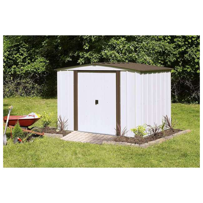 NW86-A Arrow Newburgh 8 x 6 Foot Steel Backyard Outdoor Garden Storage Shed, White 2