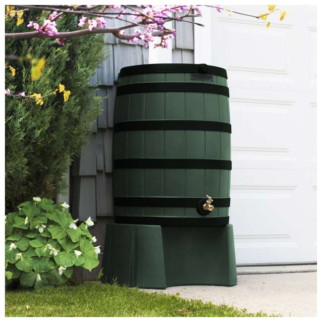 RW50-DR-GRN Good Ideas Rain Wizard Rain Collection Rain Barrel 50-Gallon Dark Ribs, Green 6