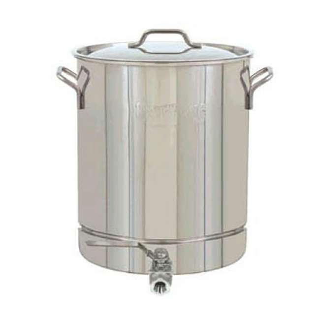 1032 Bayou Classic Large 8 Gallon Stainless Steel Stockpot w/ Spigot Spout and Lid