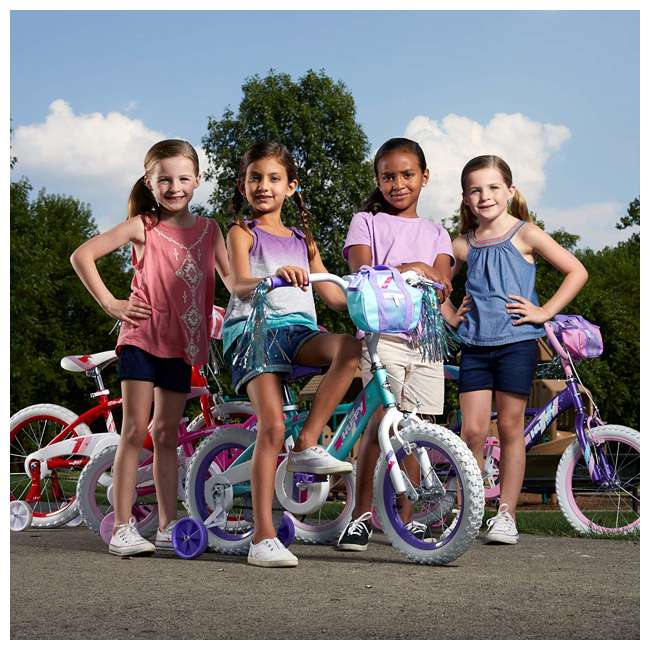 "79478 Huffy Glimmer 14"" Age 4-6 Kids Bike Bicycle with Training Wheels, Sea Crystal 4"