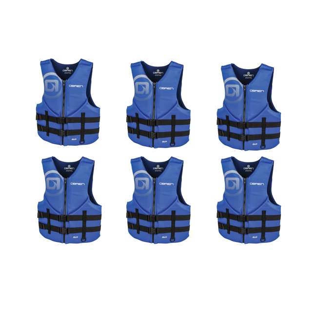 6 x 2181847-MW O'Brien Blue Men's BioLite Life Jacket Vest, Adult XL (6 Pack)