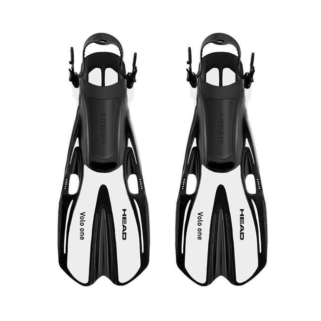 496325-BKBKS-M + 480203-SFWHML Head Sea Vu Gray Adult Snorkeling Mask w/ White Fins, MedLg 2