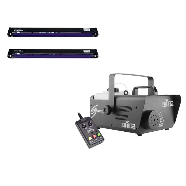 H1600 + 2 x BLACK-48BLB Chauvet DJ Hurricane Fog Machine with Remote & American DJ Blacklight (2 Pack)