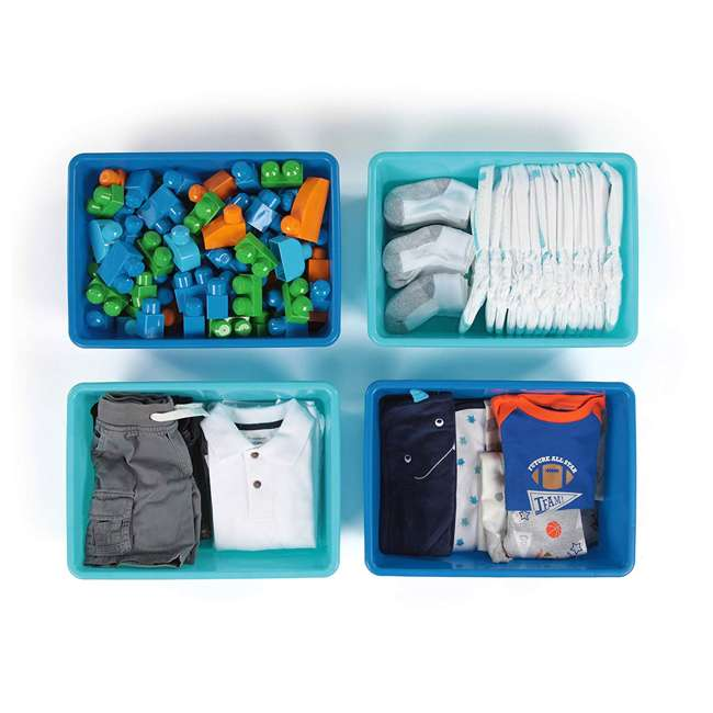 XL104 Tot Tutors XL104 Large Plastic Organization Bins, Blue/Teal (8 Pack) 3