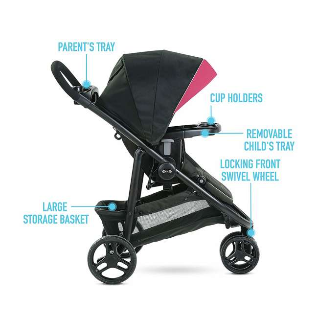 2081084 Graco Modes 3 Lite DLX Baby Stroller & Infant Car Seat Travel System, Arbis Pink 7