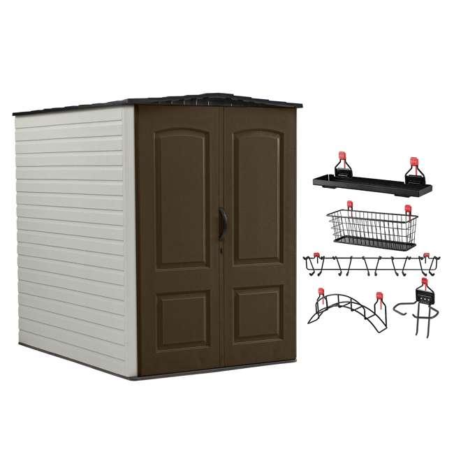 1967674 + 2032730 + 2024654 + 2024651 + 2024656  Rubbermaid 5x6 Ft Outdoor Garden Tool Vertical Storage Shed & Shelf Accessories