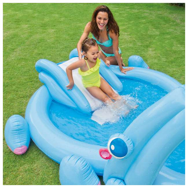 57150EP Intex 87in x 74in x 34in Inflatable Hippo Play Kids Pool Slide And Sprayer(Used) 2