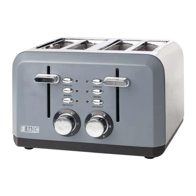 75007 Haden Perth Wide Slot Stainless Steel Body Retro 4 Slice Toaster, Slate Gray