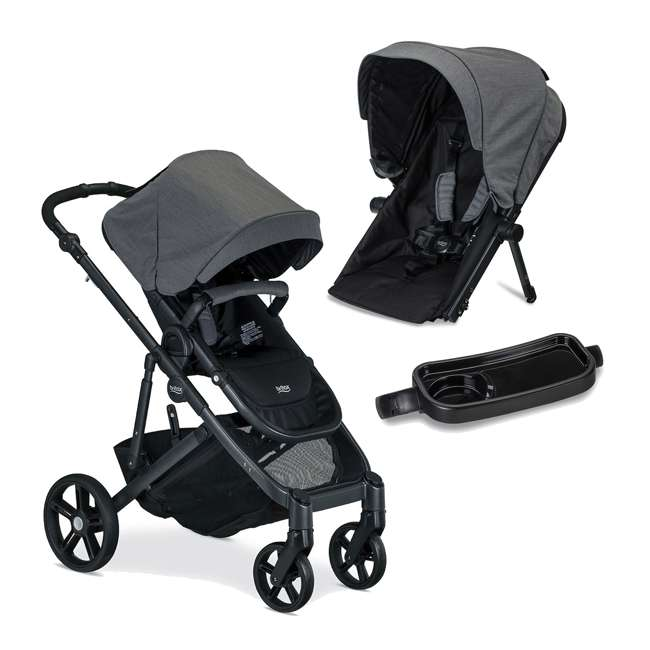 U911928 + S03634300 + S934000 Britax B Ready G3 Folding Baby Stroller, Snack Tray, and Second Seat Conversion