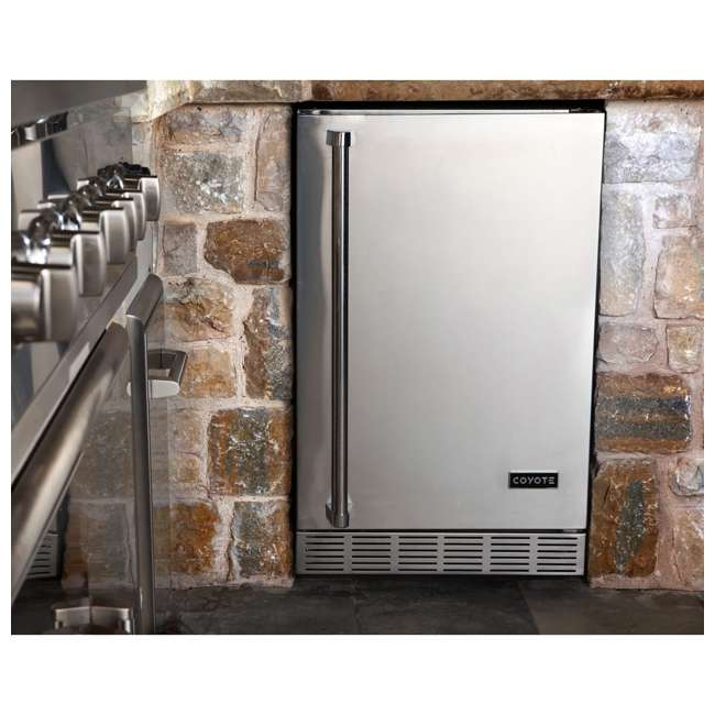 CBIR-R Coyote Outdoor 21 Inch Steel Built In Right Hinge Outdoor Refrigerator, Silver 2