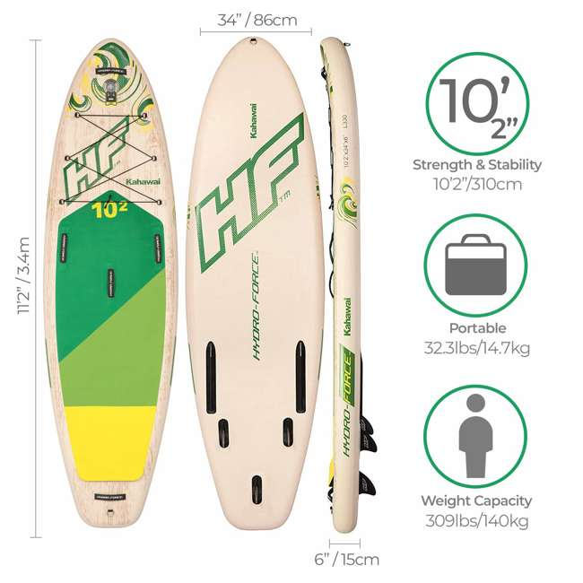 65308E-BW Bestway Hydro-Force Kahawai 10 Foot Inflatable SUP Paddle Board 1