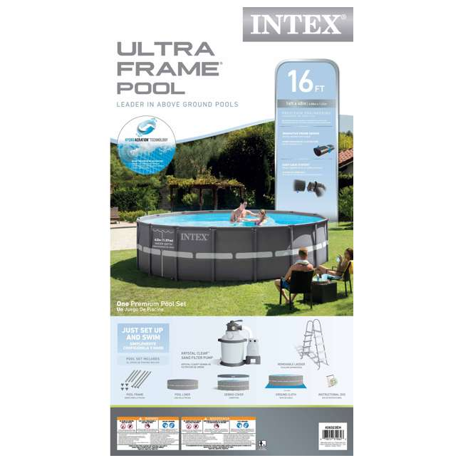 Intex 16 39 x 48 ultra frame swimming pool set 1200 gph for Intex pool handler
