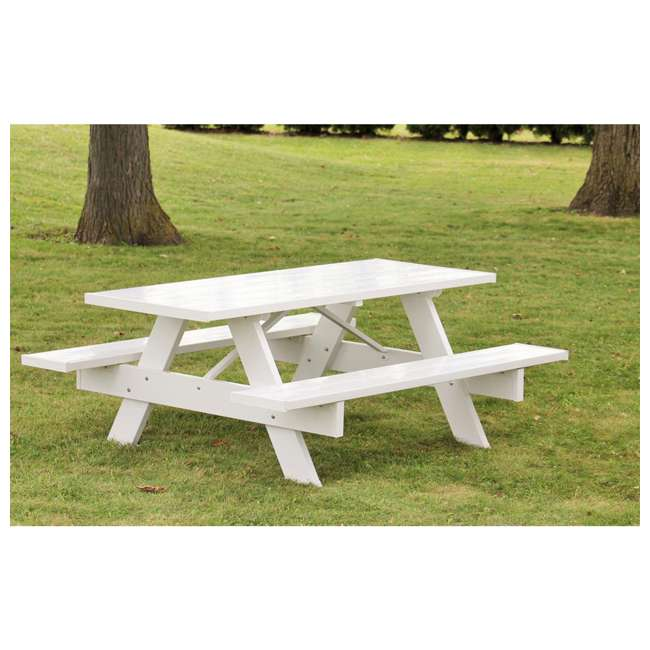 11116 - Dura-Trel Backyard Outdoor Lightweight 96-Inch Picnic Table with Benches, White