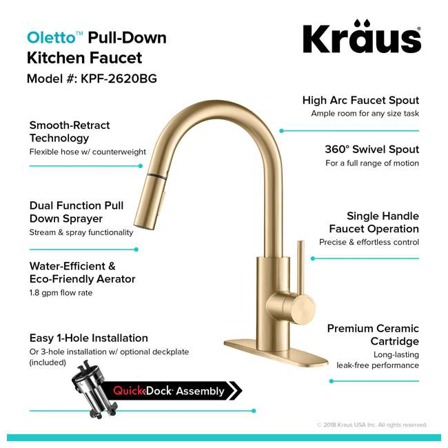 KPF-2620BB-U-A Kraus Oletto Single Handle Gooseneck Sink Faucet, Gold Finish (Open Box) 7