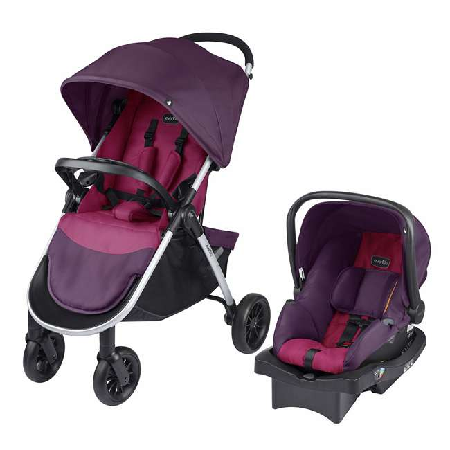 56311987 Evenflo Folio Tri Fold All in 1 Reliable Durable Baby Travel System, Blackberry