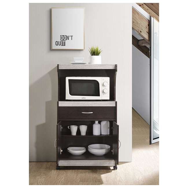 HIK72 CHOCO-GREY  Hodedah Wheeled Microwave Cart with Drawer and Cabinet Storage, Chocolate Grey 1