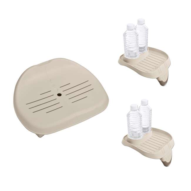 28502E + 2 x 28500E Intex Inflatable Hot Tub Seat & Cup Holder Tray (2 Pack)