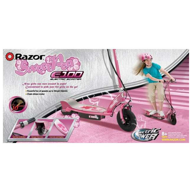 13111263 Razor E100 Kids Motorized 24 Volt Electric Powered Ride On Scooter, Sweet Pea 10