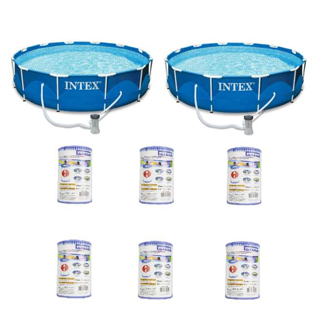 """28211EH + 6 x 29000E Intex 12' x 30"""" Metal Frame Round Pool (2 Pack) & Replacement Cartridge (6 Pack)"""