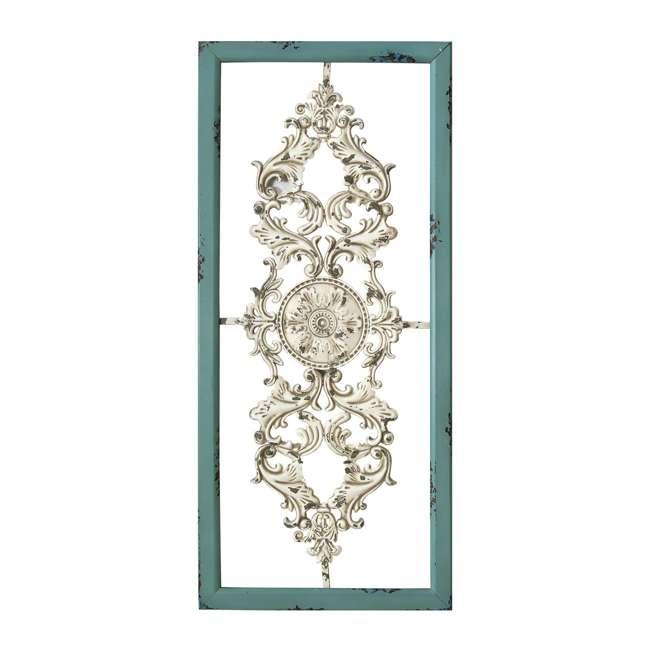 SHD0121 Stratton Home Decor SHD0121 Scroll Panel Wood Frame Rustic Wall Art, Teal/Silver