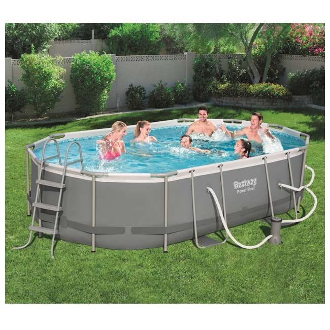 56655E-BW + 58422E-BW Bestway Power 16x10x3.5 Foot Above Ground Pool Set w/ Pump & Powercell Vacuum 4