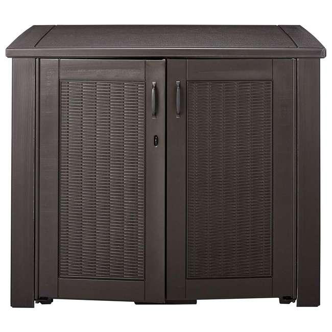 1863391 Rubbermaid Patio Chic Outdoor Cabinet Style Wicker Storage Deck Box, Black Oak 1