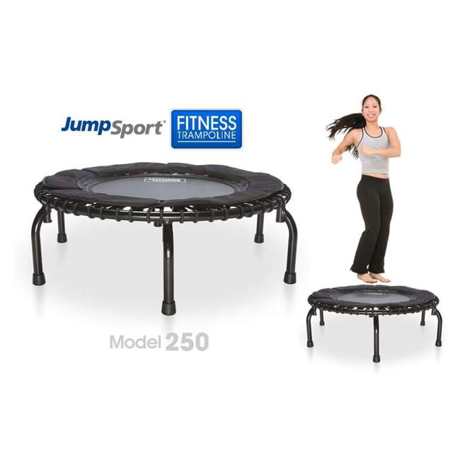 RBJ-S-20188-00 JumpSport 250 In Home Cardio Fitness Rebounder Mini Trampoline and DVD, Black 1