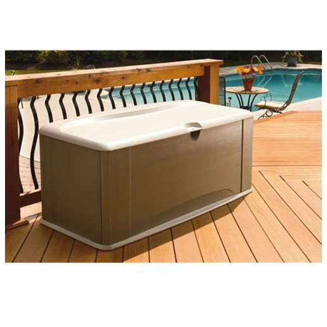 2047052 Rubbermaid Horizontal 16 Cubic Feet Storage Deck Box with Seat 1