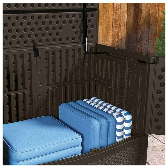 3 x VDB19500J Suncast 195 Gal Resin Wicker Patio Storage & Entertaining Station, Java (3 Pack) 5