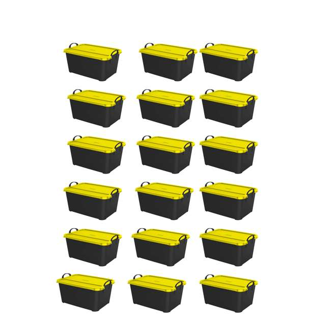 18 x CS-55BY Life Story 55-Quart Storage Bin with Handles, Black & Yellow (18 Pack)