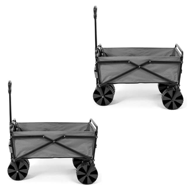 SUW-400GY Seina Collapsible Utility Beach Wagon and Cart, Gray (2 Pack)