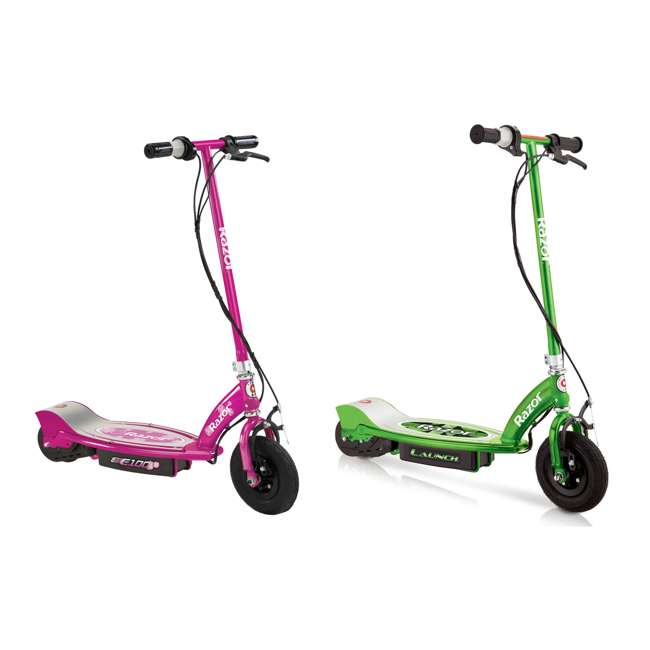 13111230 + 13111263 Razor E100 24 Volt Electric Powered Ride On Scooter, Green & Pink (2 Scooters)