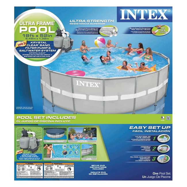 intex 18 x 52 ultra frame swimming pool set w sand pump saltwater system