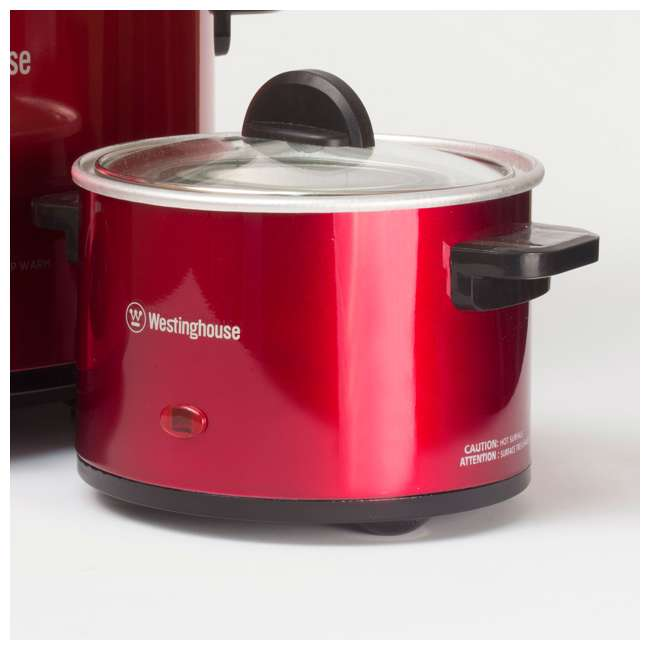 WSC801RD Westinghouse 8-Quart Stainless Steel Slow Cooker with Warmer, Red 2
