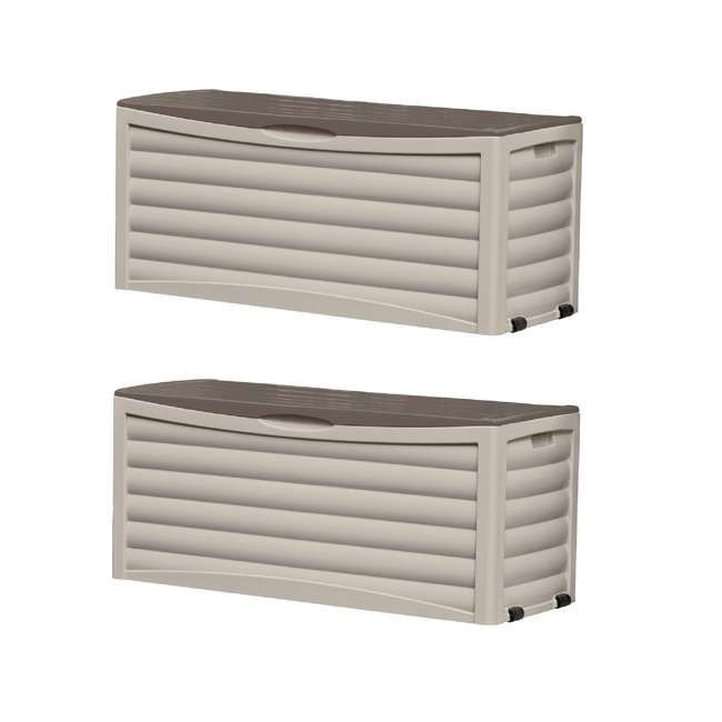 3 x DB10300 Suncast 103 Gallon Capacity Resin Outdoor Patio Storage Deck Box, Taupe (3 Pack)
