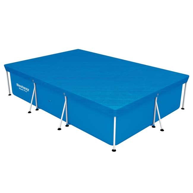 58106-BW-NEW Bestway 58106 Flowclear Pro Rectangular Above Ground Swimming Pool Cover, Blue