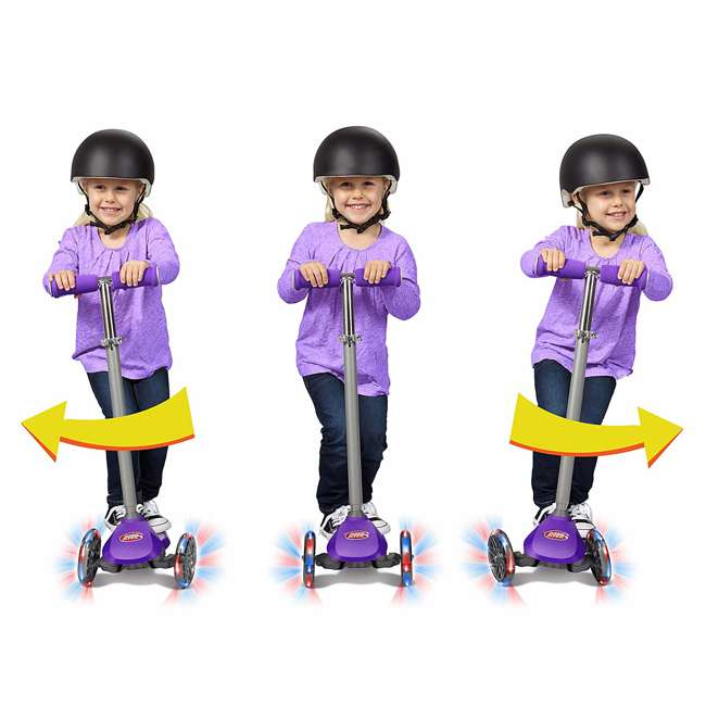 549PPZ Radio Flyer 549BZ Lean 'N Glide Kids 3-Wheel Scooter w/ Light Up Wheels, Purple 6