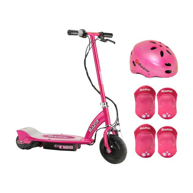 13111261 + 97783 + 96783 Razor E100 24V Electric Ride On Scooter, Pink with Pink Helmet & Elbow/Knee Pads